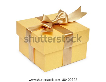 Golden gift box with golden ribbon over white background