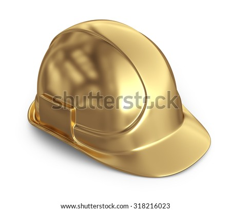 Golden helmet. 3D Icon isolated on white background