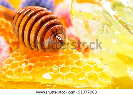 golden honeycomb and flowers