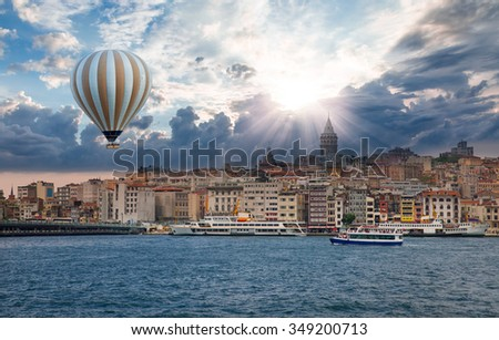 Golden Horn against Galata tower, Istanbul, Turkey