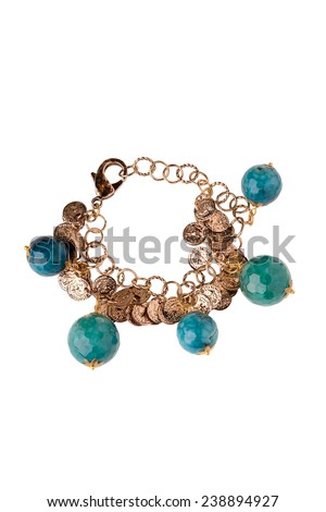 golden jewelery with beads accessory bracelet on white background