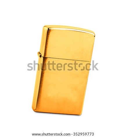 golden lighter on a white background