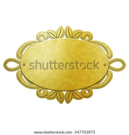 golden metal plate isolated on white 3D illustration