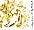 Golden note symbols chaotic flying on the white background - stock photo