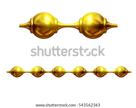"golden, ornamental segment, ""chain"", straight version for frieze, surface or border. 3d illustration"