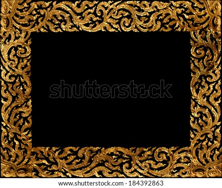 Golden picture frame traditional thai style on black background.