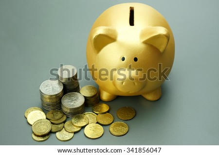 Golden piggy bank and pile of coins