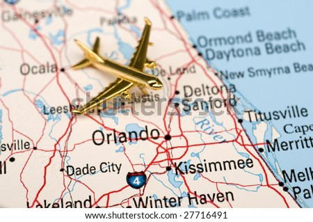 Golden Plane Over Central Florida. This map is downloaded off of a government site. There is no potential trademark or copyright infringement.