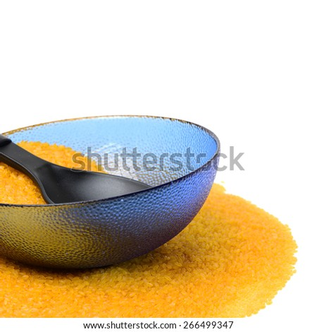 Golden rice on white background