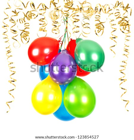 golden serpentine streamer with colorful air balloons on white background. party decoration