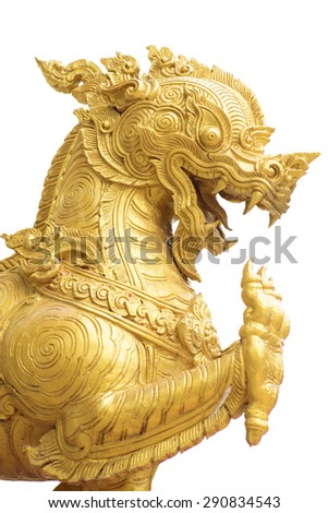 golden singha lion statue on white background