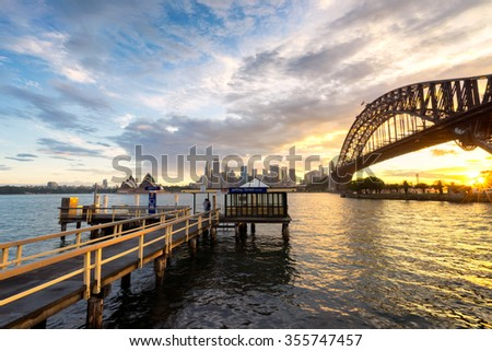 Golden Skies pass through Sydney Harbour Bridge