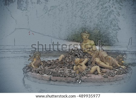 golden statue of flora in Versailles Palace garden, France. Vintage painting, background illustration, beautiful picture, travel texture