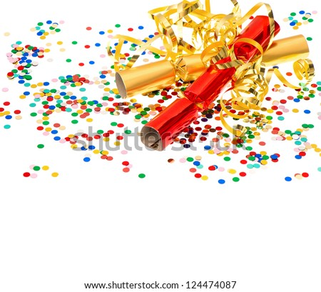 golden streamer, party cracker and confetti over white. festive decoration background