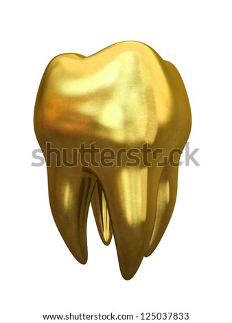 Golden tooth isolated on white background illustration