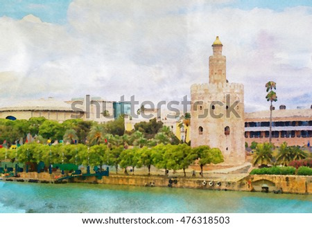 Golden Tower in Sevilla in watercolor