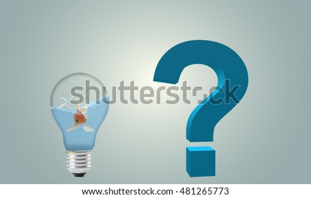 Goldfish in Light Bulb with question mark, freedom concept