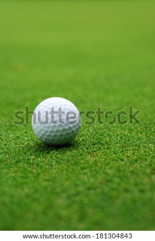 Golf ball on the green, blurred background
