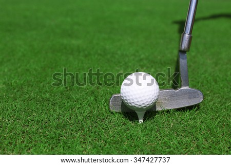 Golf club and ball on a green grass