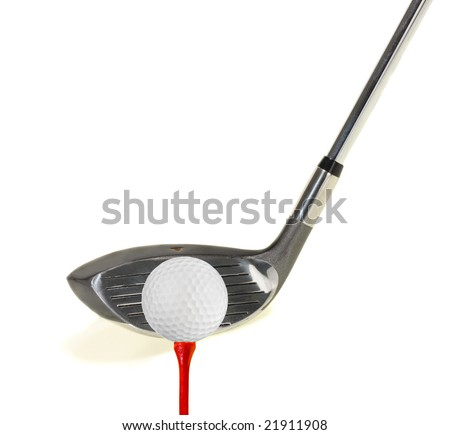 Golf club with a golf ball on a tee on a white background