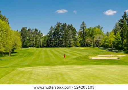 Golf course with gorgeous green and flag.