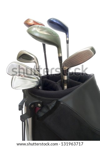 Golf Equipments  in black bag isolated on white.