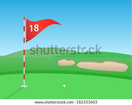 Golf outdoor scene illustration. (EPS vector version also available in portfolio)