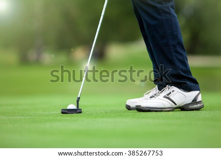 Golfer preparing for a putt on the green.