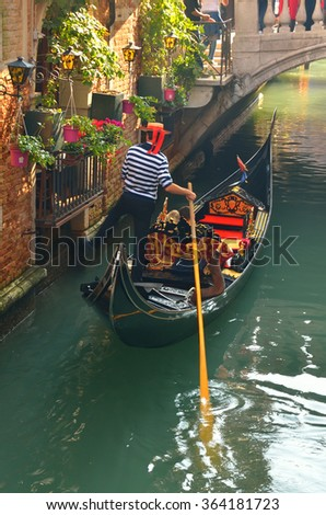 gondola in the canal in Venice