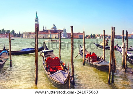 Gondola on the Grand canals in Venice, Italy.
