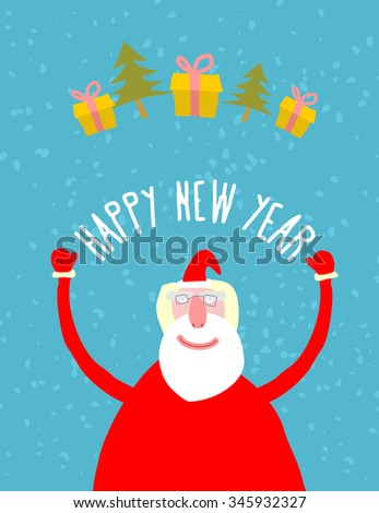 Good Santa Claus with gifts. Grandfather with a white beard in red clothing.  Greeting card Happy new year.