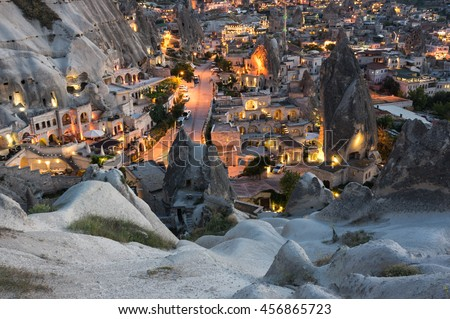 Goreme town on sunset in Cappadocia, Central Anatolia,Turkey