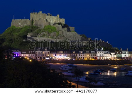 Gorey with Mont Orgueil Castle at night