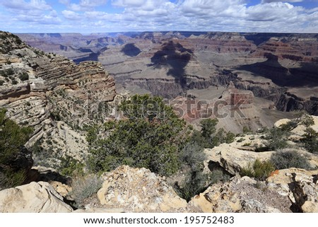 Gorgeous landscapes of stone formations at Grand Canyon, South rim, USA