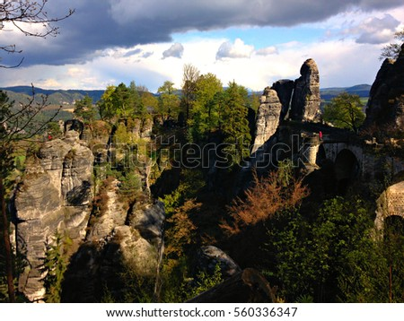 Gorgeous nature and bridge in rocks in Saxony Switzerland in Germany