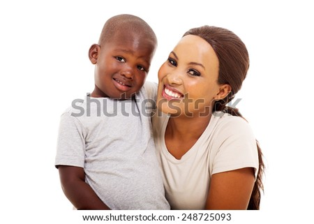 gorgeous young black woman with her son on white background