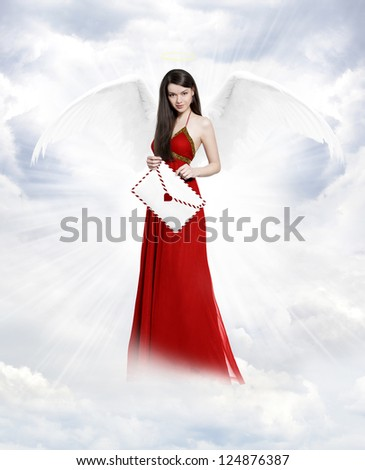 Gorgeous young brunette woman as love angel with love letter