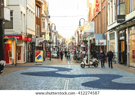 Gorinchem, Netherlands - January 17, 2015: People  in the Dutch town Gorinchem.