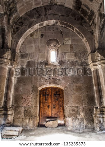 GOSH, ARMENIA - APRIL 13: Goshavank Monastery on April 13, 2013. Goshavank complex was built in 12-13th century, has remained in good condition which makes it a popular tourist destination
