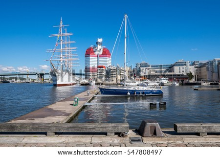 GOTHENBURG - SEPTEMBER 4: Lilla bommen harbor with famous ship Viking on September 4, 2014 in Gothenburg. Viking is a four-masted steel barque built in 1906, which currently is used as a hotel.