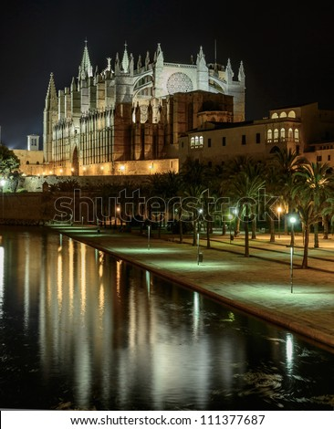 "Gothic facade of the cathedral of Palma de Majorca and views of ""Sea Park"""