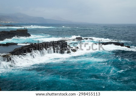 Gran Canaria, north west coast at Banaderos area, basalt rocks and strong waves