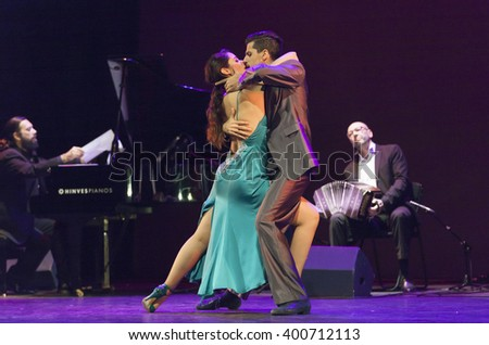 GRANADA - SPAIN, MARCH 6, 2016: Juan Esteban Cuacci, pianist, Daniel Lopez, bandoneo, Juan Pablo Bulich and Rocio Garcia Liendo, tango dancers, at 28 international tango festival of Granada.