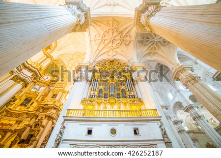 Granada, Spain - May 10, 2016: Beautiful artistic architecture inside Cathedral, (old style dome columns)