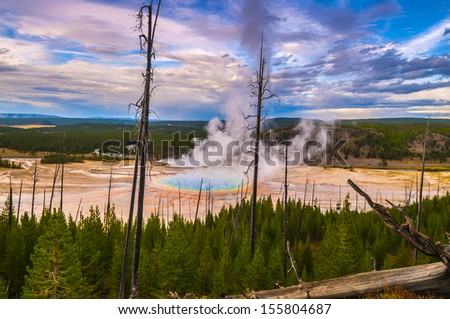 Grand Prismatic Geyser at Sunset photographed from the Hill