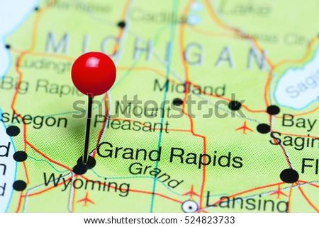 Grand Rapids Pinned On Map Michigan Stock Photo 524823733