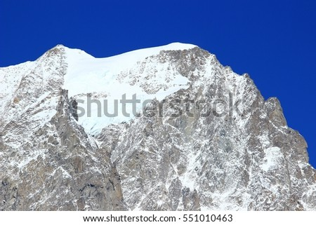 Grandes Jorasses with glacier in Mont Blanc massif, in Alps, on France-Italy border
