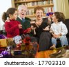 grandparents, grandchildren and presents - stock photo