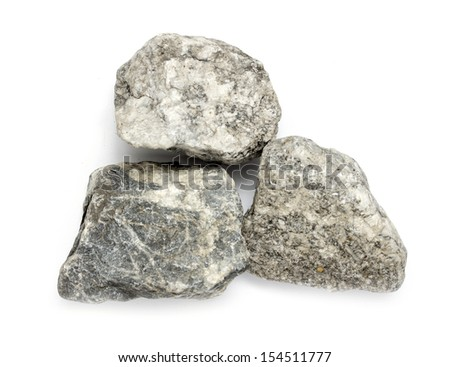 Granite stones on the white background