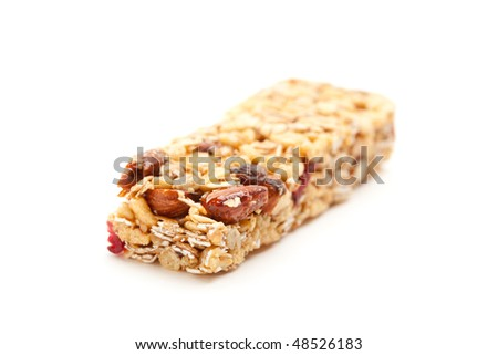 Granola Bar Isolated on a White Background with Narrow Depth of Field.